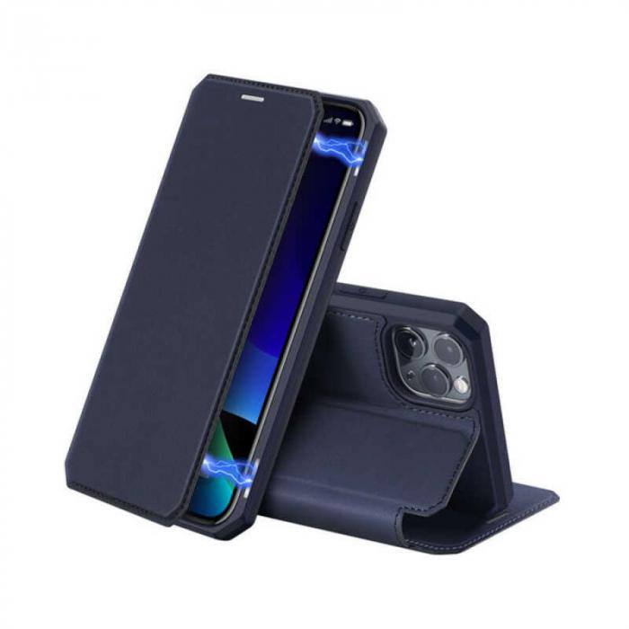 Husa iPhone 11 Pro Max Toc Flip Tip Carte Portofel Bleumarin Piele Eco X-Skin 0