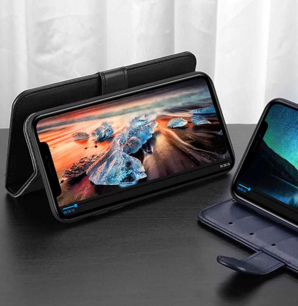 Husa iPhone 11 Pro Toc Flip Tip Carte Portofel Albastru Piele Eco Premium DuxDucis Kado 2