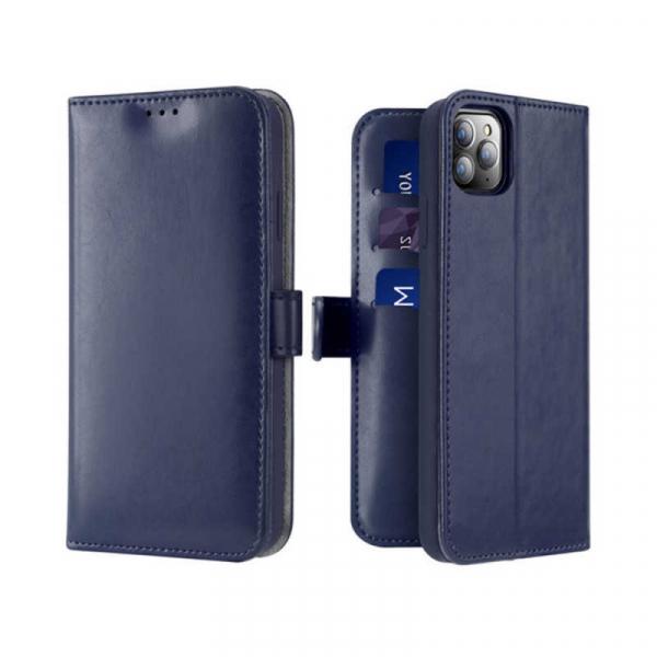 Husa iPhone 11 Pro Toc Flip Tip Carte Portofel Albastru Piele Eco Premium DuxDucis Kado 0