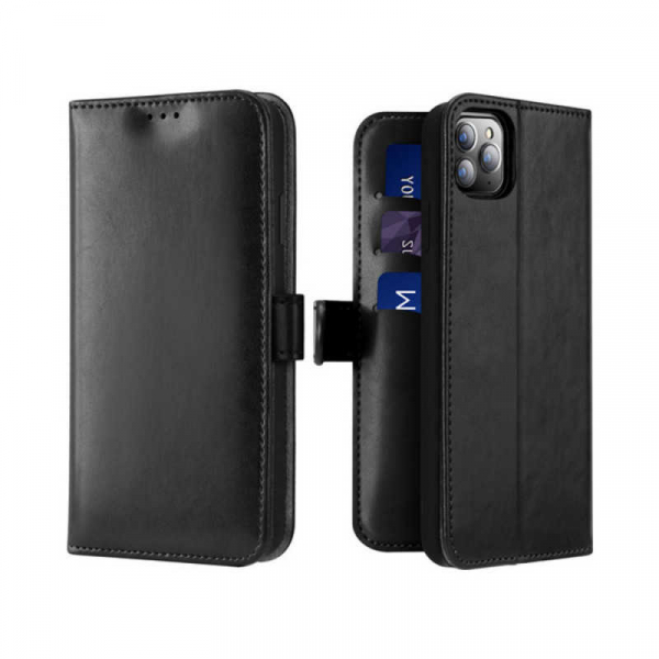 Husa iPhone 11 Pro Toc Flip Tip Carte Portofel Negru Piele Eco Premium DuxDucis Kado 0