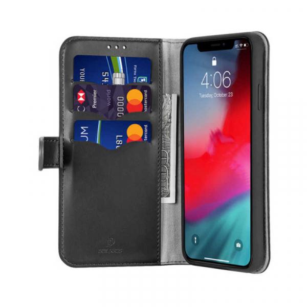 Husa iPhone 11 Pro Toc Flip Tip Carte Portofel Negru Piele Eco Premium DuxDucis Kado 1
