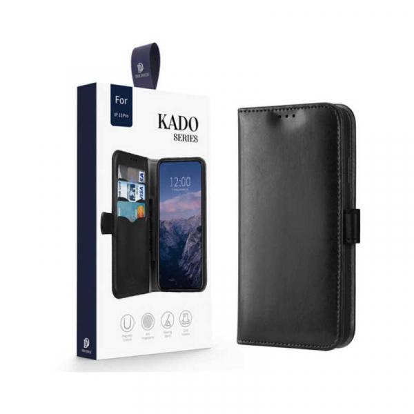 Husa iPhone 11 Pro Toc Flip Tip Carte Portofel Negru Piele Eco Premium DuxDucis Kado 6