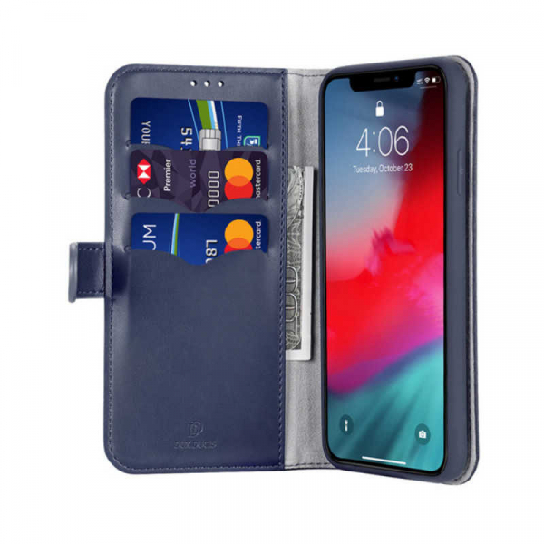 Husa iPhone 11 Toc Flip Tip Carte Portofel Albastru Piele Eco Premium DuxDucis Kado 1