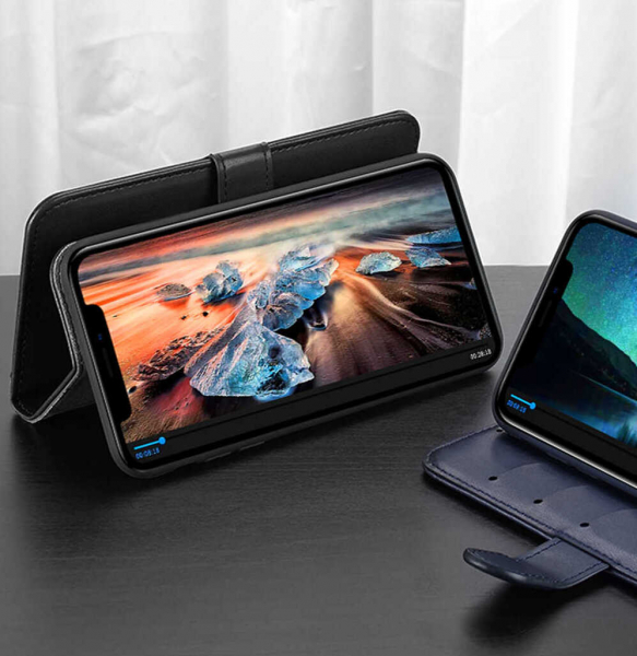 Husa iPhone 11 Toc Flip Tip Carte Portofel Albastru Piele Eco Premium DuxDucis Kado 2