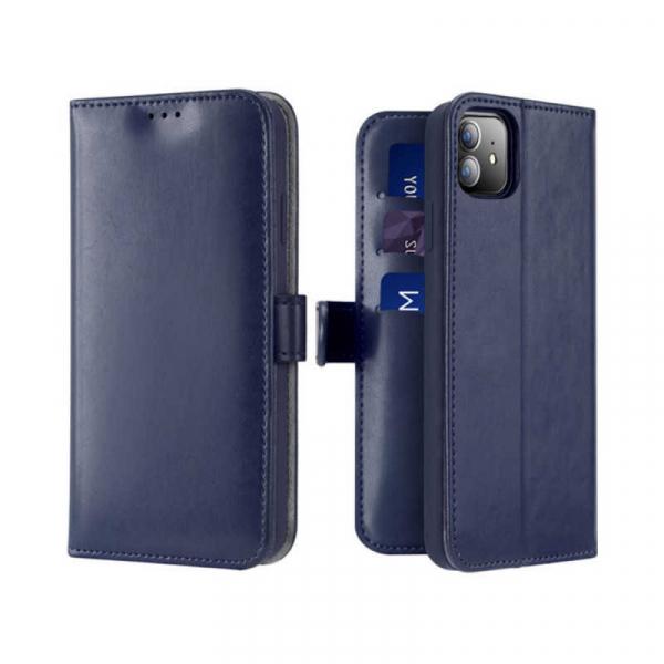 Husa iPhone 11 Toc Flip Tip Carte Portofel Albastru Piele Eco Premium DuxDucis Kado 0