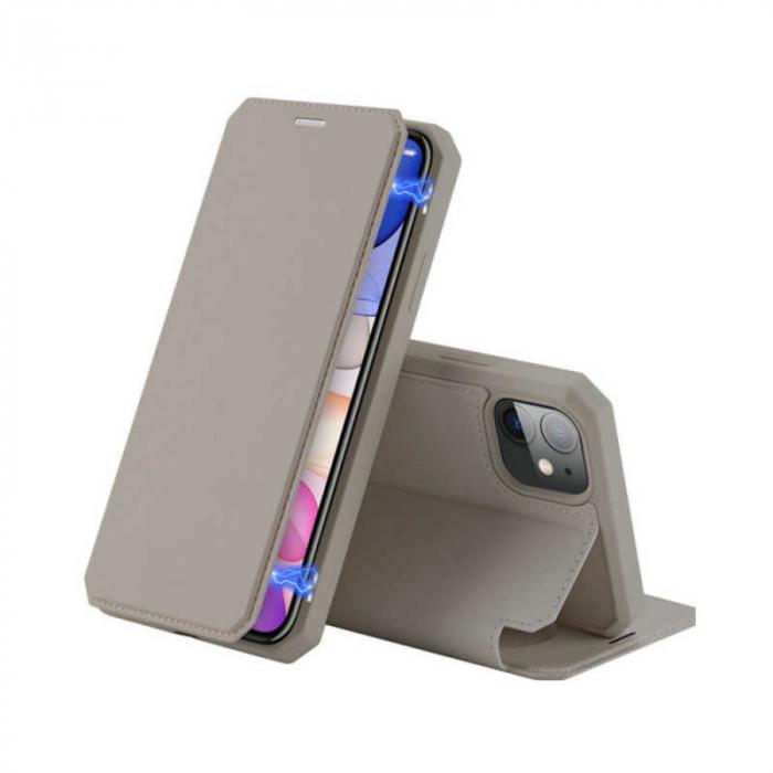 Husa iPhone 11 Toc Flip Tip Carte Portofel Auriu Gold Piele Eco X-Skin [0]