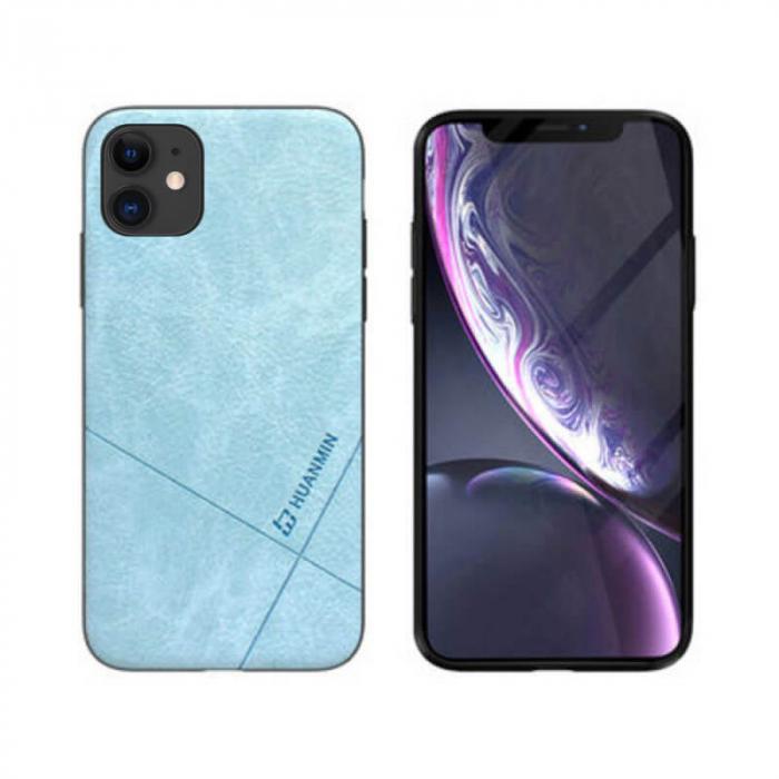 Husa iPhone 12 Silicon si Piele Ecologica Albastru Spate Atlas Cha [0]
