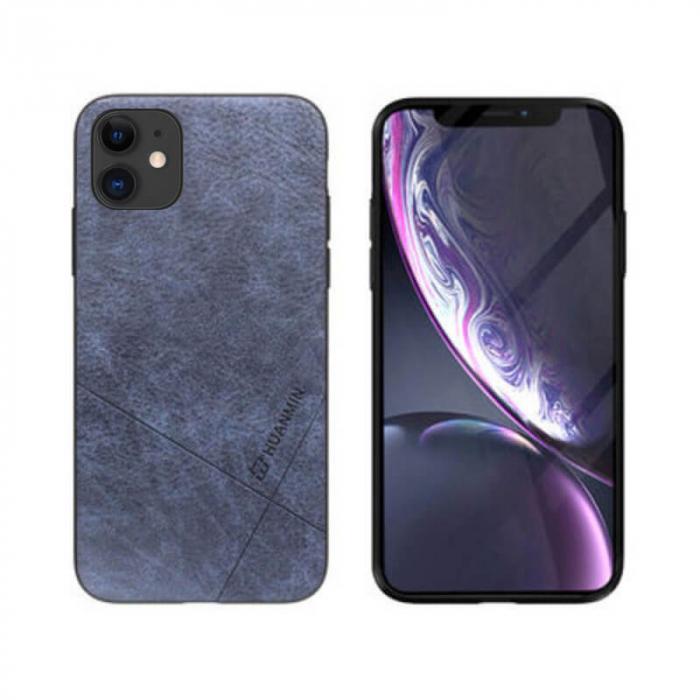 Husa iPhone 12 Silicon si Piele Ecologica Gri Spate Atlas Cha [0]