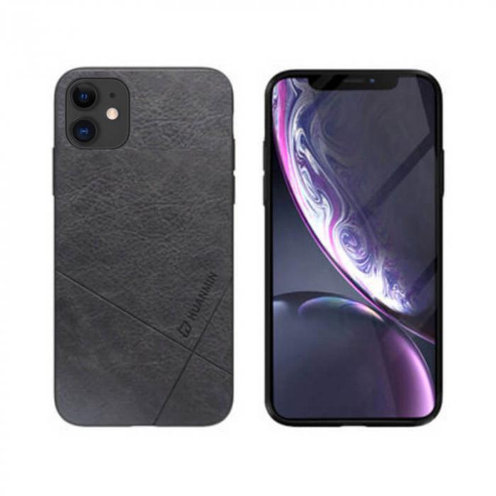 Husa iPhone 12 Mini Silicon si Piele Ecologica Negru Spate Atlas Cha [0]