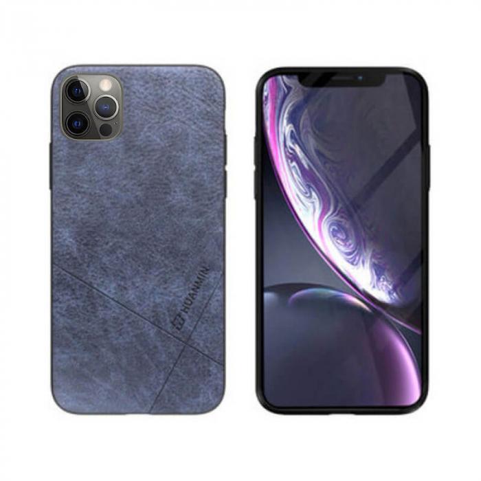 Husa iPhone 12 Pro Silicon si Piele Ecologica Gri Spate Atlas Cha [0]