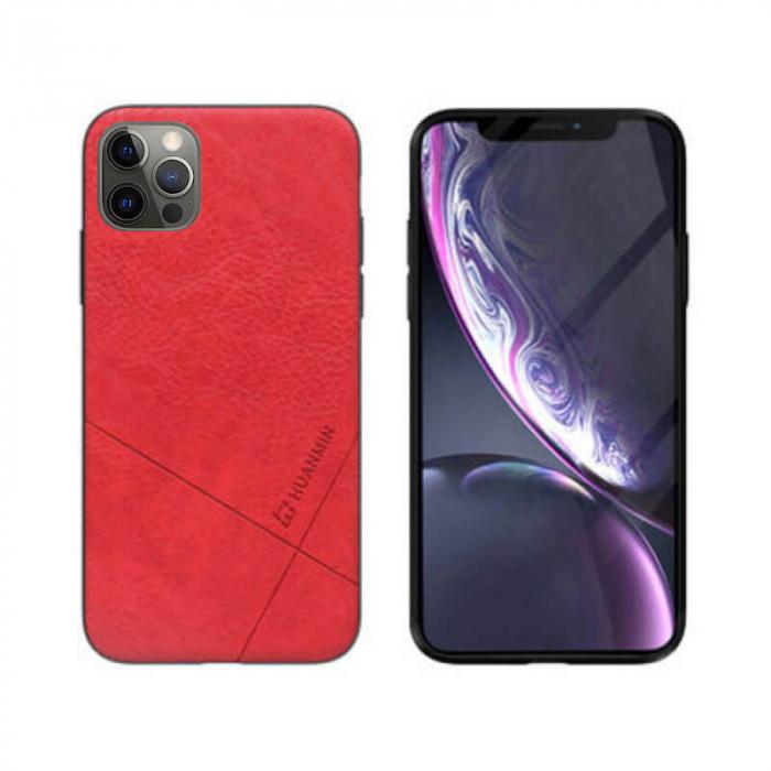 Husa iPhone 12 Pro Silicon si Piele Ecologica Rosu Spate Atlas Cha [0]