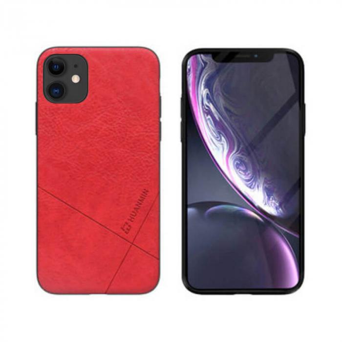 Husa iPhone 12 Silicon si Piele Ecologica Rosu Spate Atlas Cha [0]