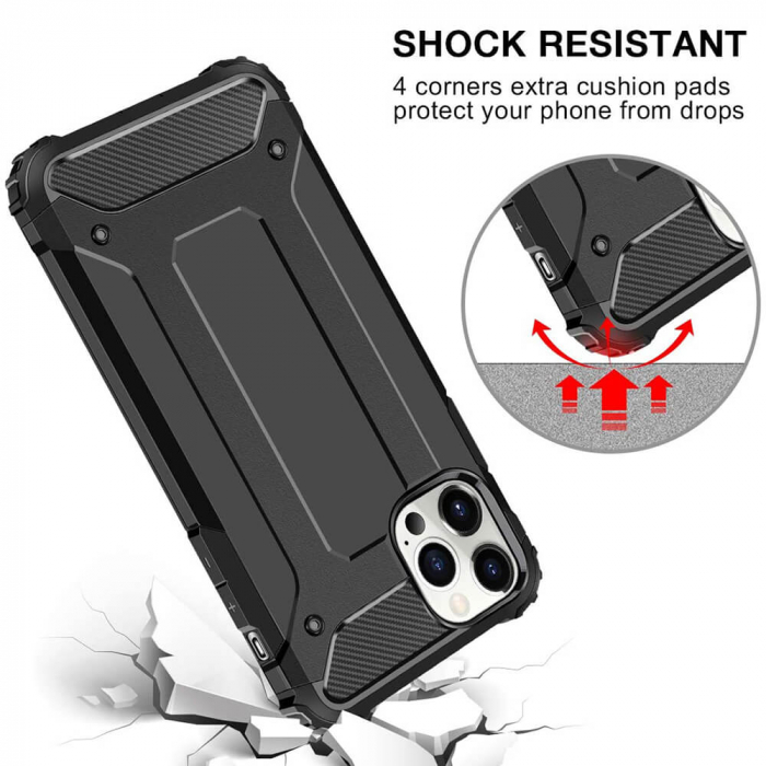 Husa iPhone 12Pro Max Silicon Antisoc Negru Hybrid Armor [4]