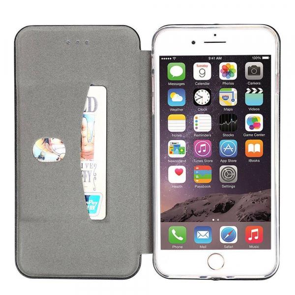 Husa iPhone 6 Plus Tip Carte Flip Cover din Piele Ecologica Neagra Portofel cu Inchidere Magnetica (Black) 1