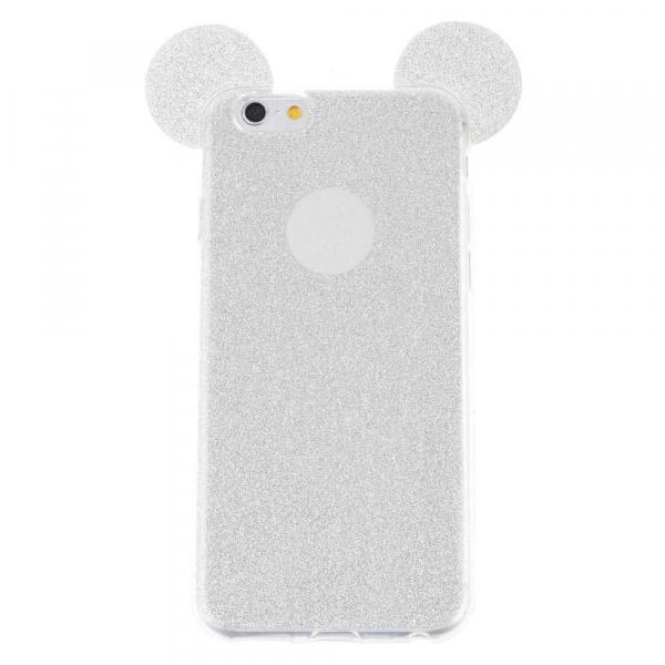 Husa iPhone 6 Plus Silicon TPU Carcasa Urechi Sclipici Silver 0