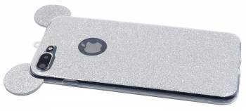 Husa iPhone 6 Plus Silicon TPU Carcasa Urechi Sclipici Silver 2