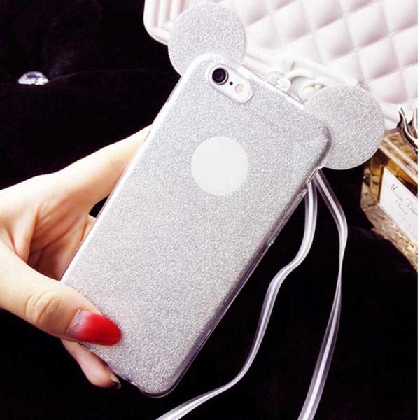 Husa iPhone 6 Plus Silicon TPU Carcasa Urechi Sclipici Silver 1