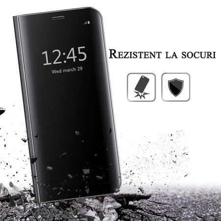 Husa iPhone 7 / 8 Clear View Flip Standing Cover (Oglinda) Negru (Black) 3