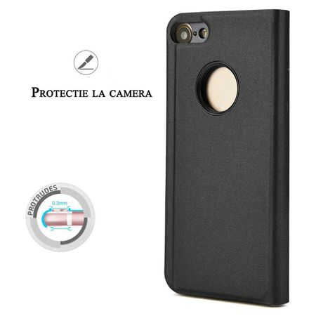 Husa iPhone 7 / 8 Clear View Flip Standing Cover (Oglinda) Negru (Black) 1