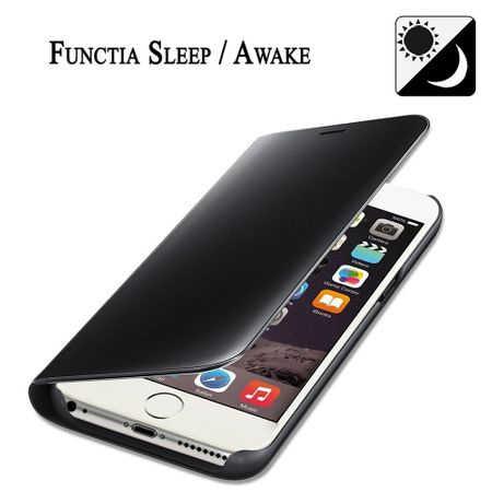 Husa iPhone 7 / 8 Clear View Flip Standing Cover (Oglinda) Negru (Black) 2
