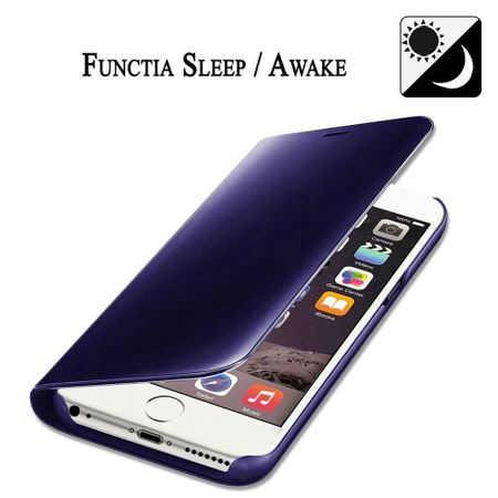 Husa iPhone 7 Plus / 8 Plus Clear View Flip Standing Cover (Oglinda) Mov (Purple) 3