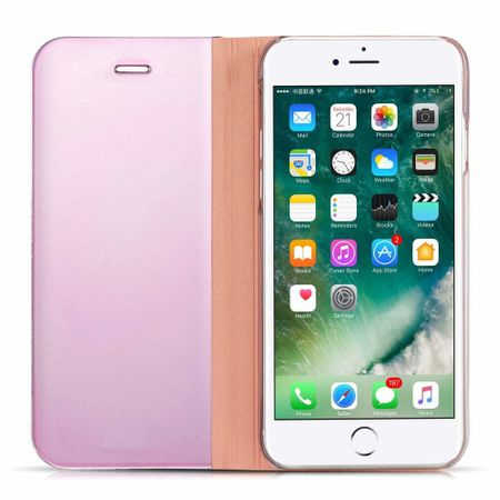 Husa iPhone 7 Plus / 8 Plus Clear View Flip Standing Cover (Oglinda) Roz (Rose Gold) 4