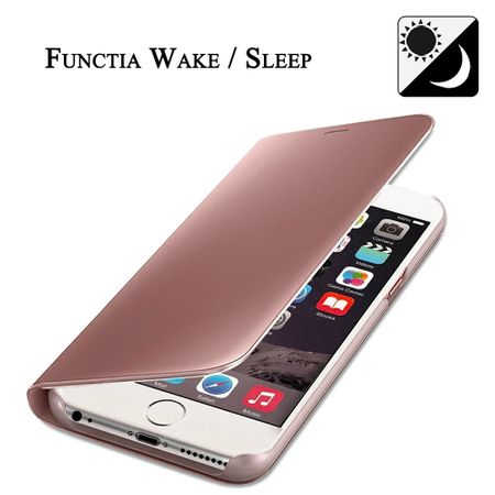 Husa iPhone 7 Plus / 8 Plus Clear View Flip Standing Cover (Oglinda) Roz (Rose Gold) 5