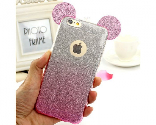 Husa iPhone 6 Plus Silicon TPU Carcasa Urechi Sclipici Silver / Pink 2