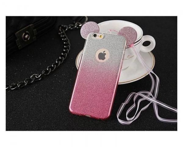 Husa iPhone 6 Plus Silicon TPU Carcasa Urechi Sclipici Silver / Pink 1