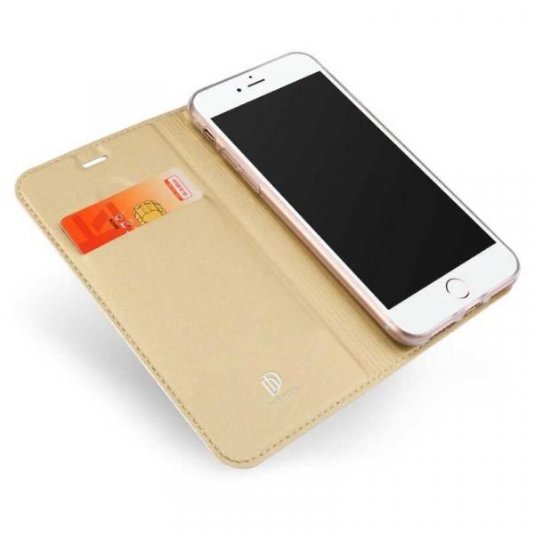 Husa iPhone 8 Toc Flip Tip Carte Portofel Auriu Gold Piele Eco Premium DuxDucis [1]
