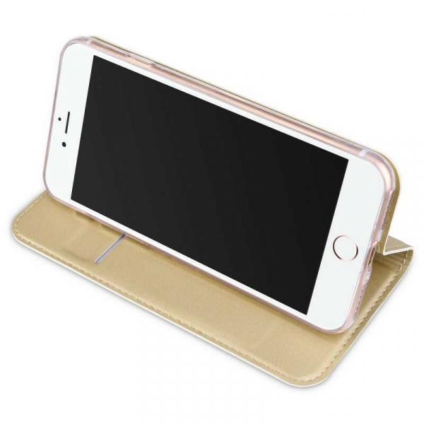 Husa iPhone 8 Toc Flip Tip Carte Portofel Auriu Gold Piele Eco Premium DuxDucis [2]