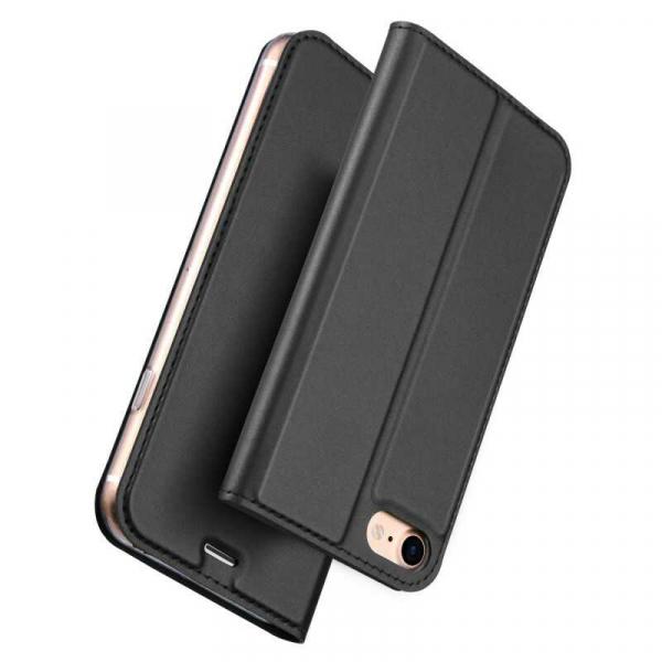 Husa iPhone 8 Toc Flip Tip Carte Portofel Negru Piele Eco Premium DuxDucis 4