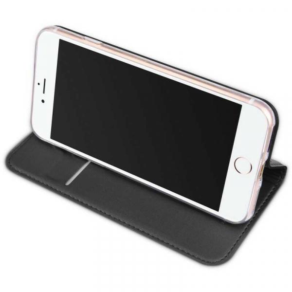 Husa iPhone 8 Toc Flip Tip Carte Portofel Negru Piele Eco Premium DuxDucis 2
