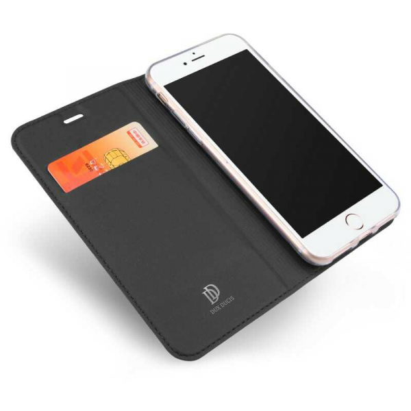 Husa iPhone 8 Toc Flip Tip Carte Portofel Negru Piele Eco Premium DuxDucis 1