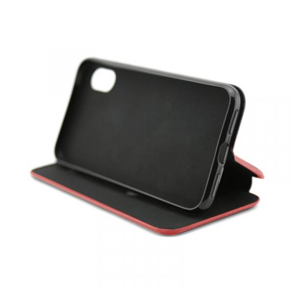 Husa iPhone X  / iPhone XS Rosu Tip Carte Flip Cover din Piele Ecologica Portofel cu Inchidere Magnetica 2