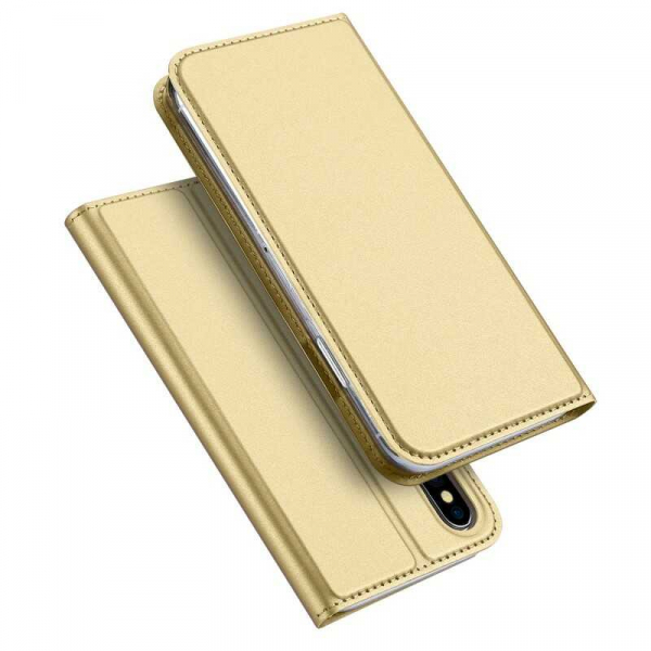 Husa iPhone X Toc Flip Tip Carte Portofel Auriu Gold Piele Eco Premium DuxDucis 4