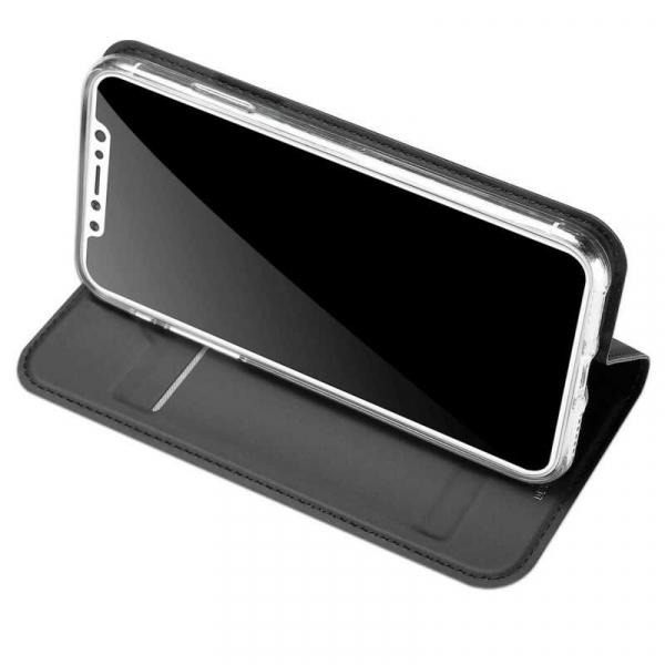 Husa iPhone X Toc Flip Tip Carte Portofel Negru Piele Eco Premium DuxDucis [2]