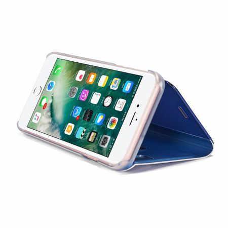 Husa iPhone X / XS  Clear View Flip Standing Cover (Oglinda) Albastru (Blue) 1