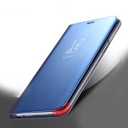 Husa iPhone X / XS  Clear View Flip Standing Cover (Oglinda) Albastru (Blue) 3
