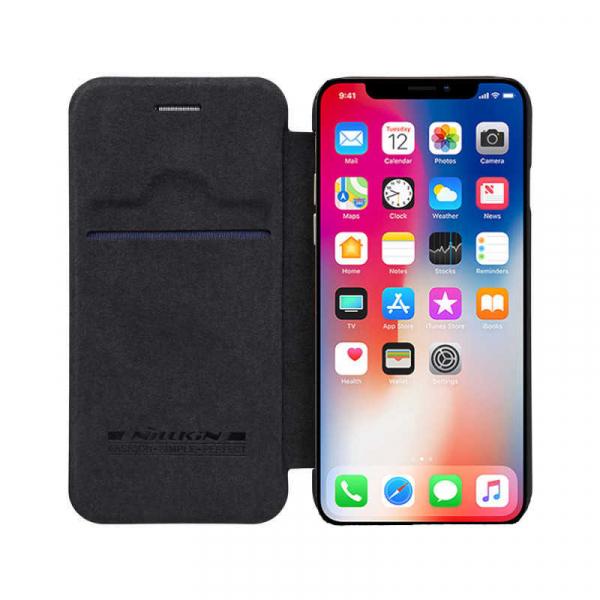 Husa iPhone X XS Negru Toc Flip Nillkin Qin Piele Eco Premium Tip Carte Portofel 0