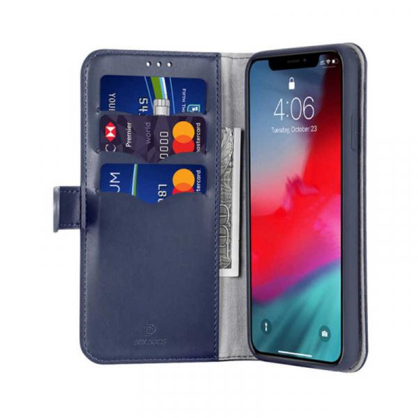Husa iPhone X XS Toc Flip Tip Carte Portofel Albastru Piele Eco Premium DuxDucis Kado [1]