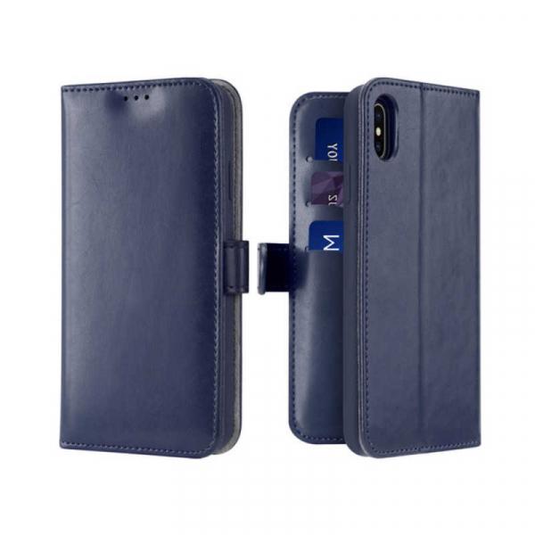 Husa iPhone X XS Toc Flip Tip Carte Portofel Albastru Piele Eco Premium DuxDucis Kado [0]
