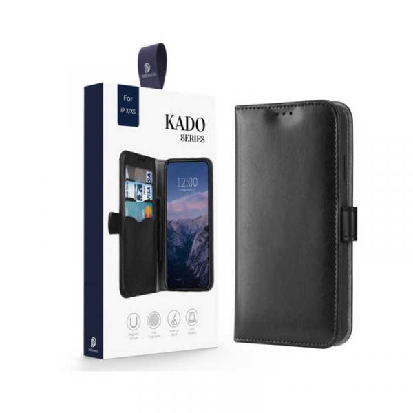 Husa iPhone X XS Toc Flip Tip Carte Portofel Negru Piele Eco Premium DuxDucis Kado [7]