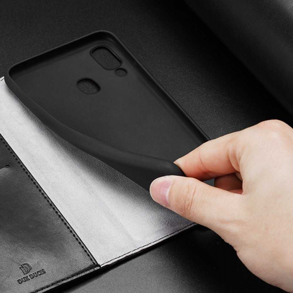 Husa iPhone X XS Toc Flip Tip Carte Portofel Negru Piele Eco Premium DuxDucis Kado [4]