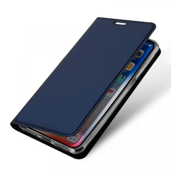 Husa iPhone XR 2018 Toc Flip Tip Carte Portofel Bleumarin Piele Eco Premium DuxDucis 3