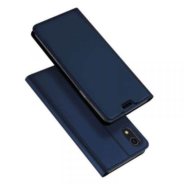 Husa iPhone XR 2018 Toc Flip Tip Carte Portofel Bleumarin Piele Eco Premium DuxDucis 4
