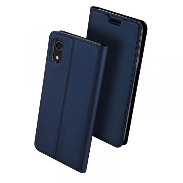 Husa iPhone XR 2018 Toc Flip Tip Carte Portofel Bleumarin Piele Eco Premium DuxDucis 0