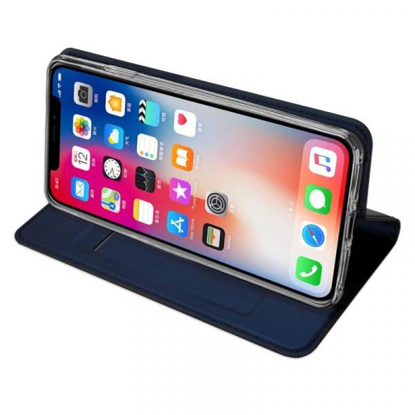 Husa iPhone XR 2018 Toc Flip Tip Carte Portofel Bleumarin Piele Eco Premium DuxDucis 2