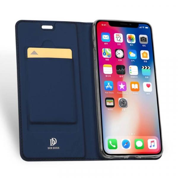 Husa iPhone XR 2018 Toc Flip Tip Carte Portofel Bleumarin Piele Eco Premium DuxDucis 1