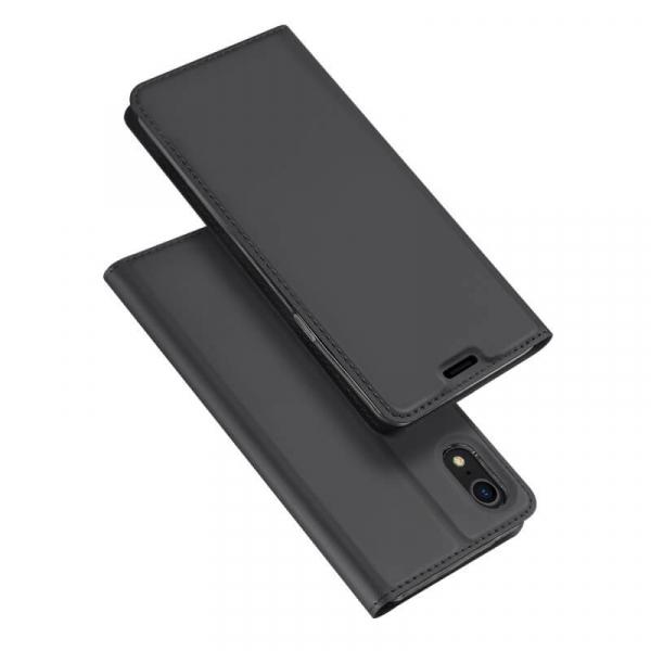 Husa iPhone XR 2018 Toc Flip Tip Carte Portofel Negru Piele Eco Premium DuxDucis 4